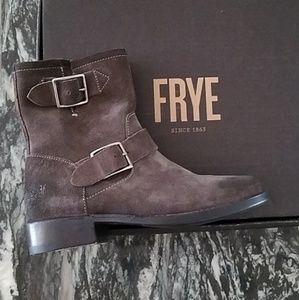 Frye Vicky Gray Oiled Suede Moto Boots